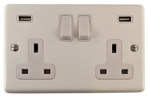 G&H CW910W Standard Plate Matt White 2 Gang Double 13A Switched Plug Socket 2.1A USB